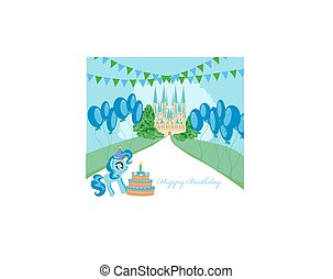 Card with unicorn and birthday cake
