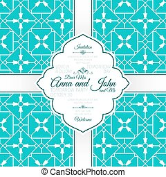 Card with vintage blue spanish pattern