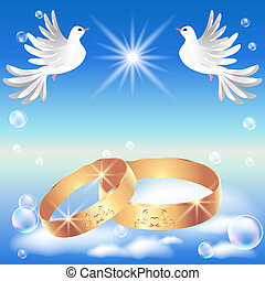 Card with wedding ring and dove in the clouds