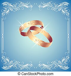 Card with wedding rings in floral ornament frame