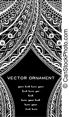 card with white lace curtains on a black background