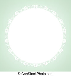 lace doily on green background