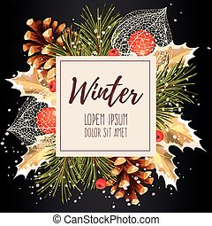 Card with winter cherry