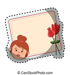card with woman face and flowers