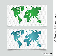 Card with world map. Vector illustration.