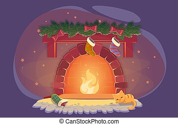 Card with xmas fireplace and sleeping cat, celebration decoration design. Playful kitty near christmas fire with socks. New year Cozy winter room, eve noel night flat vector illustration.
