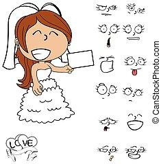 card young bride cartoon emotions - funny young bride...