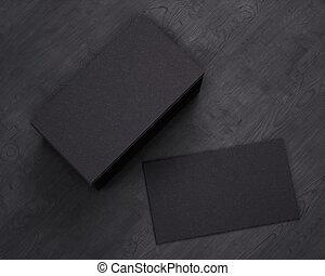 card., zakelijk, vertolking, van hout top, achtergrond., black , mal, leeg, kaarten, overzicht., 3d