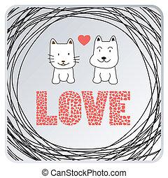 card3, liefde, dog, kat