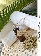 A dropper bottle of cardamom essential oil. Cardamom berries in the background