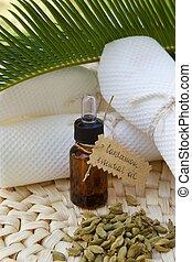 Cardamom essential oil - A dropper bottle of cardamom ...