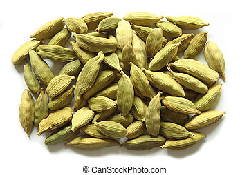 Green cardamom on a white background. Aromatic spice.