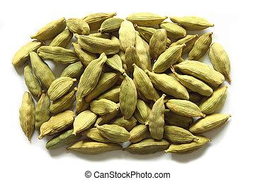 Cardamom - Green cardamom on a white background. Aromatic ...