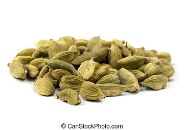 Heap of cardamom seeds, isolated on white.