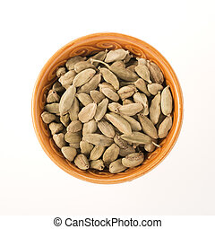 Cardamom in Bowl Isolated