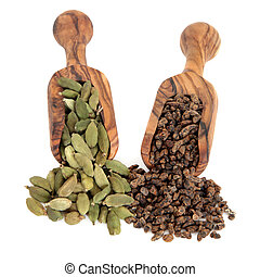 Cardamom pod and seed spice in olive wood scoops over white background.