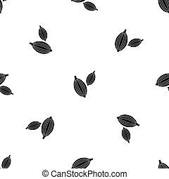 Cardamom pods pattern seamless black