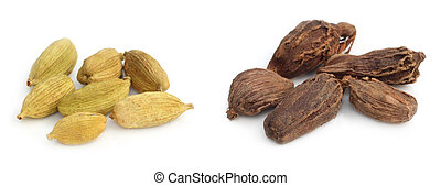 Cardamom seeds of two types on white background