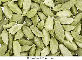 Cardamom whole, the Indian spice. Filmed close up