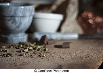 cardamomo, chocolat, elaboración, ser, preparado