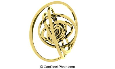 Cardan gimbal made of gold. Balance or free 3D motion concepts. Loopable animation