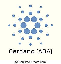 cardano, crypto, ilustración, (ada)., vector, ic, moneda