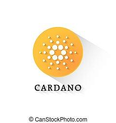 cardano, crypto, moneda, círculo anaranjado, icono