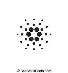 cardano, moneda, basado, coin., icono, plano, isolated., ...