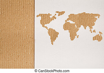 Cardboard background series - global shipping or transportation concept