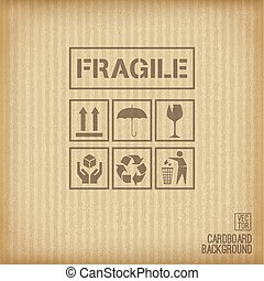Cardboard background. Set of cardboard symbol.