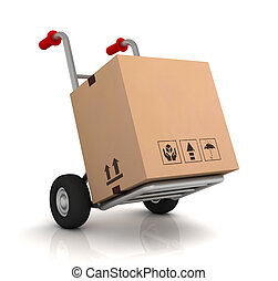 cardboard box and hand truck