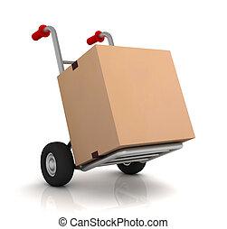 cardboard box and hand truck