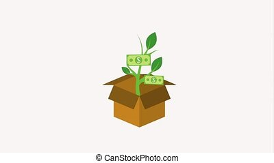 cardboard box and potted plant dollar banknote growth...
