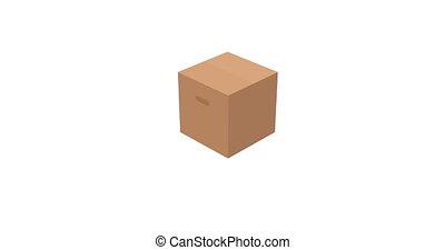 Cardboard box animation on white background