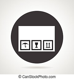Cardboard box black round vector icon