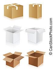 Cardboard Box - illustration of different shape cardboard...