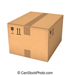 Cardboard box - Closed cardboard box isolated on white ...