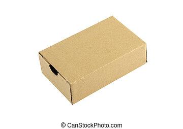 Cardboard box closed on white background.