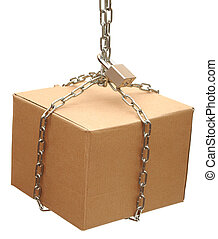 cardboard box closed with a chain and a lock