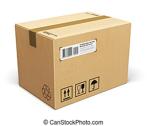Cardboard box - Corrugated cardboard box package isolated on...