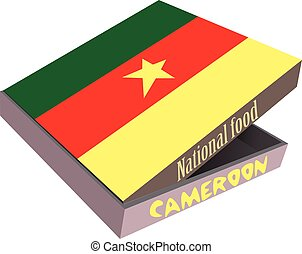 Cardboard box delivery food - national flag Cameroon