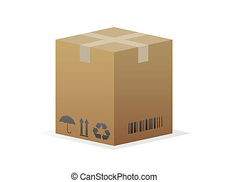 Cardboard box icon isolated on white