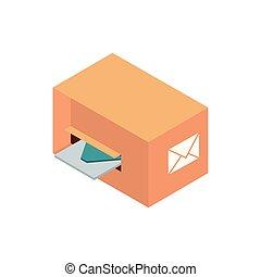 cardboard box envelope correspondence postal mail isometric
