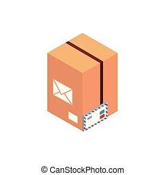 cardboard box envelope letter correspondence postal mail isometric