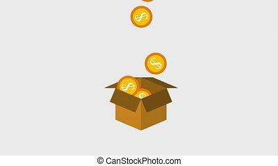 cardboard box filled coins money dollar animation hd