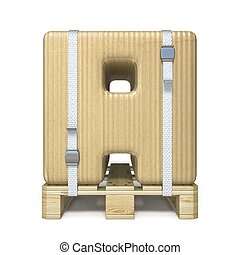 Cardboard box font Letter A on wooden pallet 3D