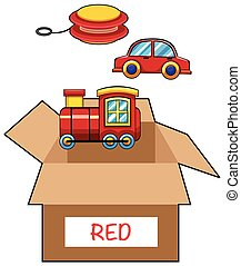 Cardboard box for red toys illustration