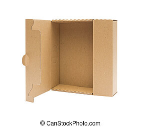 Cardboard box front view with isolated on white