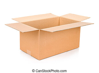 Cardboard box. Front View. With shadows and isolated on...