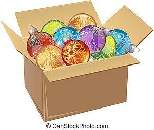 Cardboard box full of Christmas balls isolated. Vector...